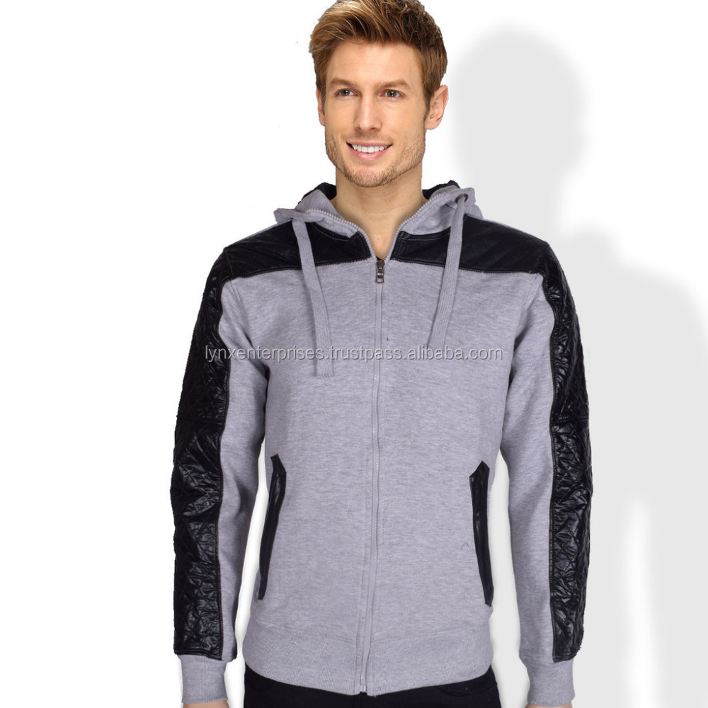 Men's Fashion Zipper Jacket with Leather Patch & Zip Pockets-Grey