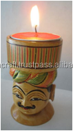 wooden tea light carved men candle