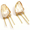 Uneven Shape Long Pipe Hanging Fresh Water Pearl Oyster Pearl Earring
