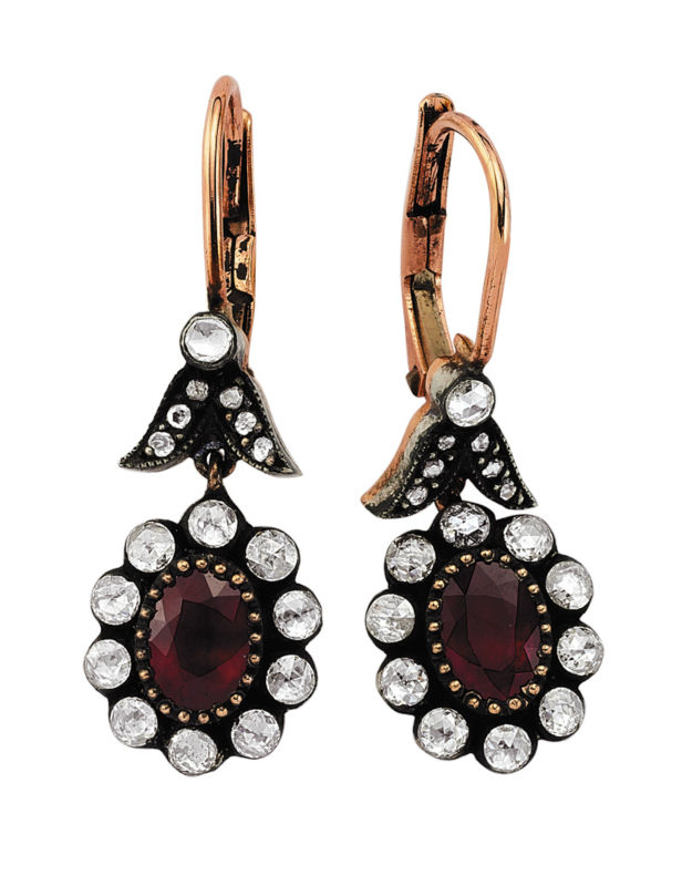 Victorian Rose Cut gold diamond and ruby earring 8K Jewelry