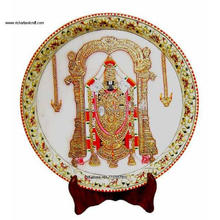 Indian Marble Thali Plate Handicraft Religious Gift Decor Miniature Painting God Tirupati Balaji Vishnu Rajasthan