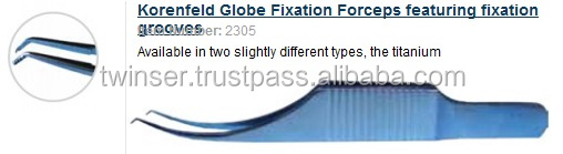 Korenfeld Globe Fixation Forceps featuring fixation grooves Item Numb