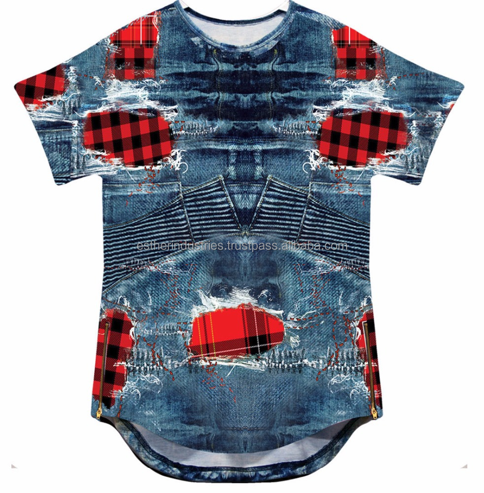 Sublimated Elongated Short Sleeve Tee With Side Zippers/all over custom sublimation short sleeve tee with latest side zipper