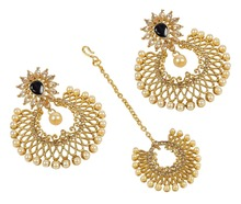 Indian Gold Plated Chandelier Design Crystal Made Earring With Maang Tikka For Women