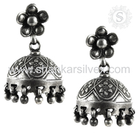 Factory Direct Sale New Oxidised 925 Sterling Silver Earring Wholesale Silver Jewelry Handmade Jewelry