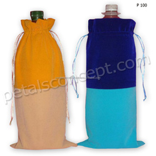 Dual Color Combination Soft Sheer Velvet Fabric Drawstring Wine Bottle Bag