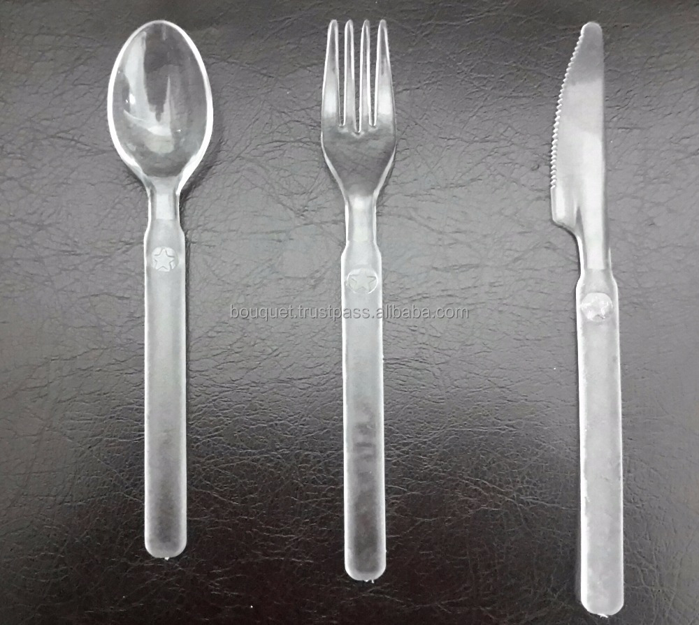 Heavy Weight 9gm Transparent spoon/fork / knife Single-use Disposable Plastic Cutlery Set Airplane ,restaurants,hotels and cafe