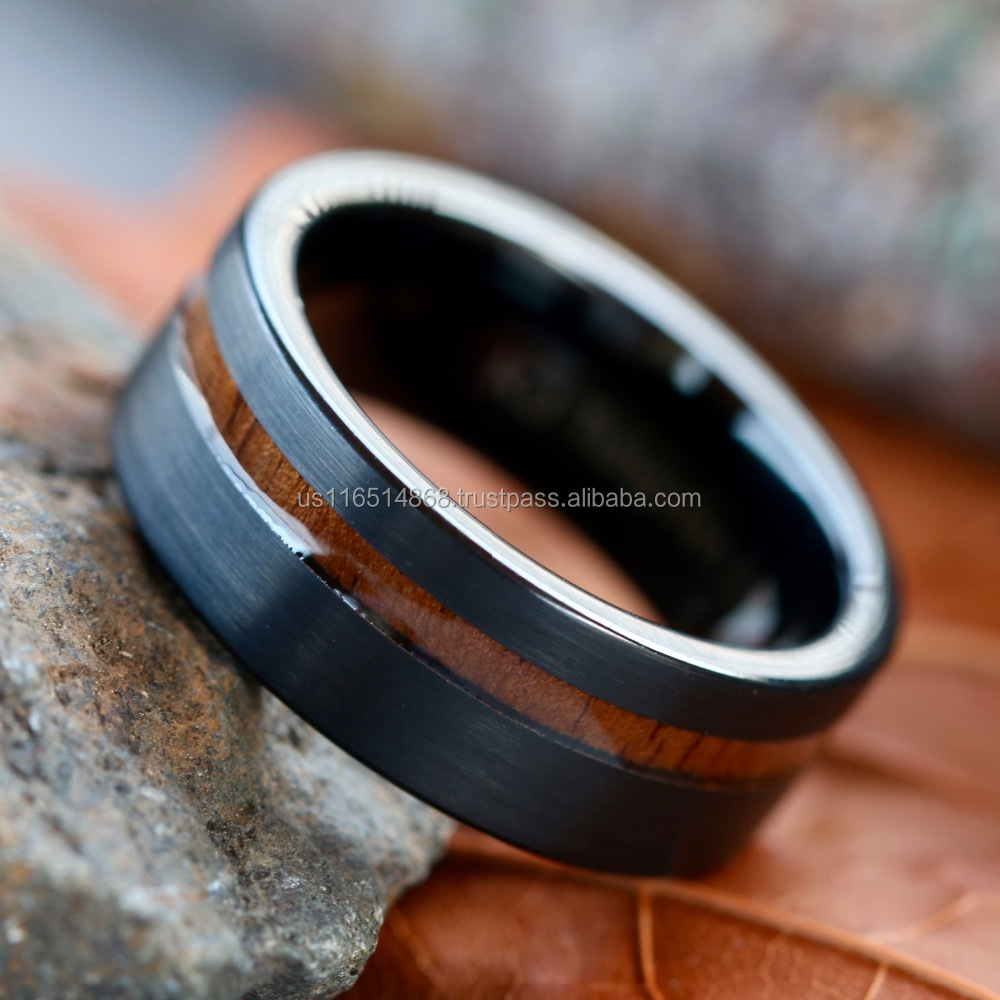 Black Tungsten Wedding Ring Band Natural Koa Wood Engagement Ring #TWR5