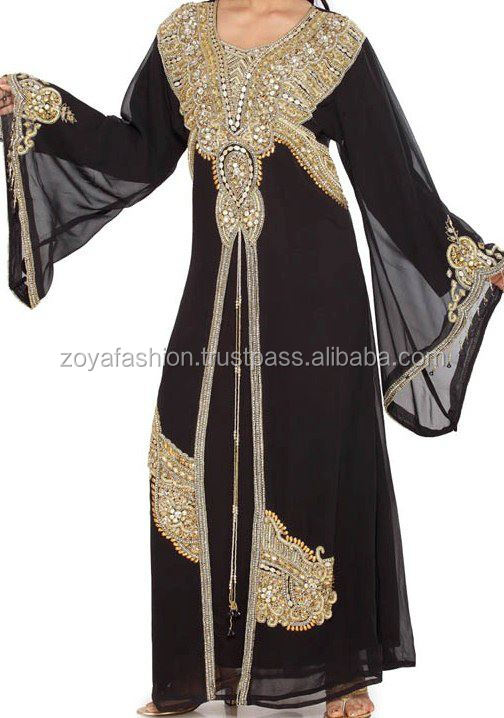 gold copper zari work magnificient black kaftan, jalabiaya, abaya