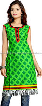 Women Ethnic - Ladies Casual Printed Cotton Panelled Semiflared Long Kurta Free Shipping
