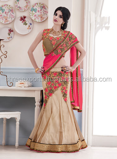 Net Beige and Hot Pink Patch Border Work Lehenga Saree