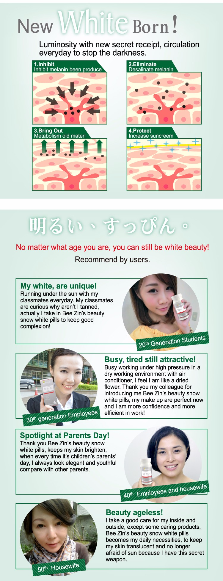 HACCP Japan made Natural Pure Organic Skin lightening tablet