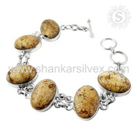 High Quality Elegant Gemstone Silver Jewelry Picture Jasper Bracelet 925 Sterling Silver Supplier