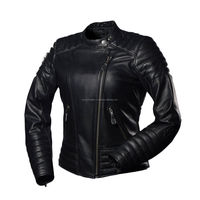 New Women Motorbike Jacket/ American Black Leather Jacket in Buffalo/Cowhide Leather