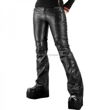 2016 GOTHIC STYLE BLACK LEATHER LOOK BUCKLE PANTS 2015 FOR WOMENS Fashion FC-4714