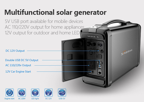 220V AC DC Solar Generator 500 Watt Off Grid for Home Appliances