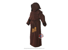 Brown Long Hooded Robe With Frill Belt For Adults
