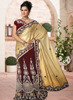 Indian wedding lehenga sraee - Wedding reception lehenga saree - Hand saree blouse designs - Heavy border work saree