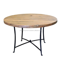 RAILROOD TIE TABLE TOP AND FOLDABLE IRON TABLE BASE