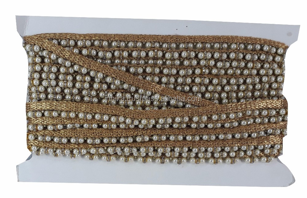 9 mtr border trim, pearl n stone beads tassle on gold lace, 1.5cm wide
