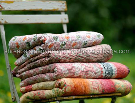Kantha Quilted Recycled Sari Throw-One-of-a-kind Vintage handmade Throw Blanket Kantha Quilted Recycled Sari Throw