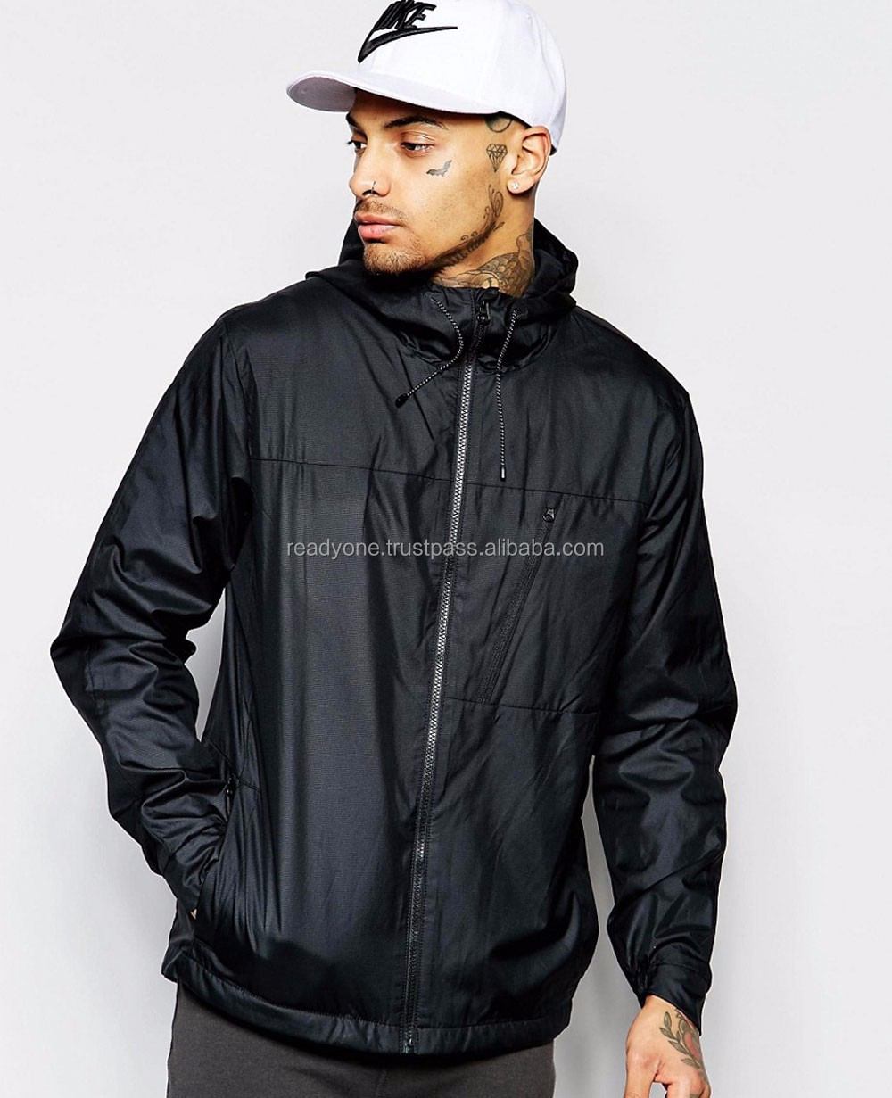 hooded skiwear mens nylon windbreaker jackets