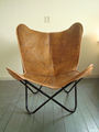 royal tan leather butterfly chair with brown frame