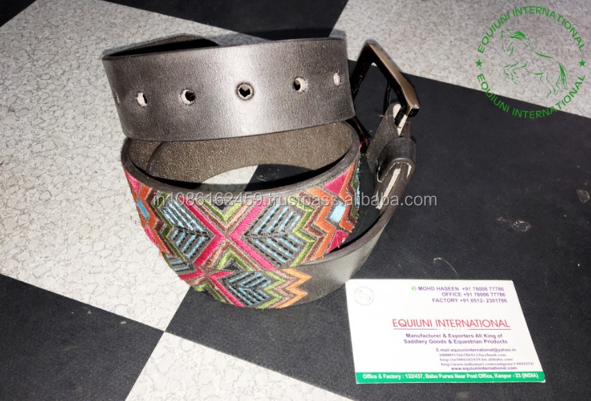 Embroidery leather belts