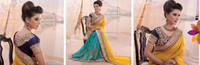 Sky Blue & Yellow Colored Saree With Golden Border Works Done Beauty Designer Sarees