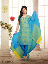 Sky Blue Color Salwar With Printed Top & Plain Bottom Designer Unstitch Salwar Kameez Collections