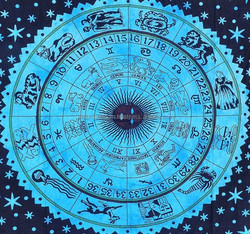 Horoscope zodiac sign bed sheet bedspread tapestry indian wall hanging good luck boho bohemian student dorm hippy