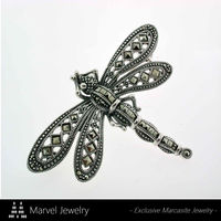 925 Sterling Silver Dragonfly Insect Marcasite