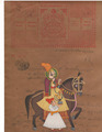 Vintage Indian Painting Handmade Rajput Emperor Miniature Portrait water color Artwork old Court Fee Stamp Kamsutra Yoga