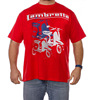 New 2017 Scooter Print Red T-Shirt Men Extra Large Short Sleeved Cotton Embroider Customize