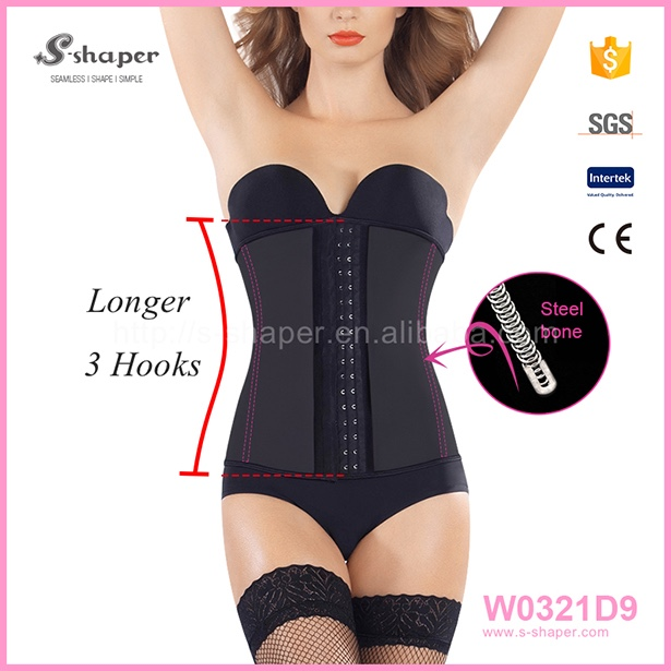 Black Leather And Latex Waist Trainer Bodysuits For Women W0321D9