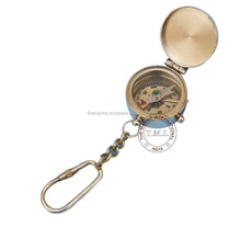 BRASS COMPASS KEYCHAIN with LID - BRASS COMPASS KEYRING with LID