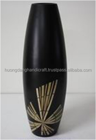 New Unique design for Composite Vase with incrusted bamboo from Vietnam Handicraft