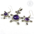 Rare Design 925 Silver Jewelry Handmade Sterling Silver Amethyst Set Indian Silver Jewelry Exporter