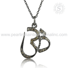 Fluorescence diamond silver necklace wholesale jewelry 925 sterling silver lord om necklace handmade silver jewelry suppliers