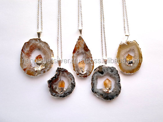 Silver Edged Agate Goede Slice Double Stone Necklace