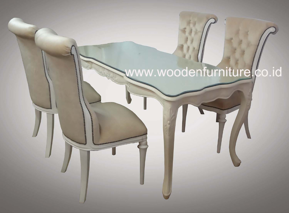 Antique Dining Set French Style Home Furniture Classic Dining Table and Dining Chair European Style Home Furniture