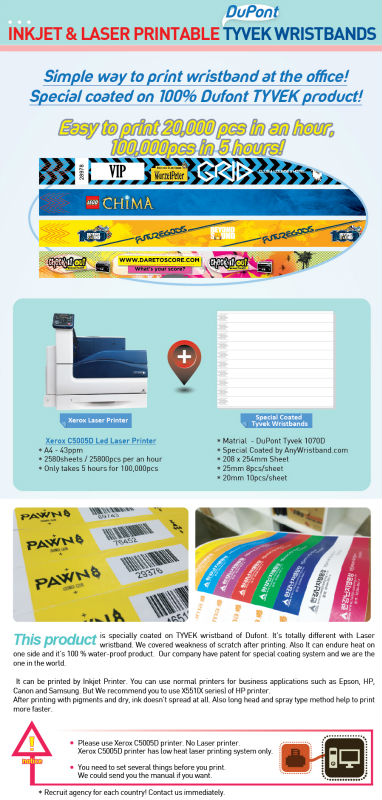 inkjet printed wristbands