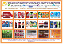 SOFTDRINKS TIDA KIM PRODUCTION TEA COFFEE PEP DRINKING EXPORT CAN BOTTLE VIETNAM
