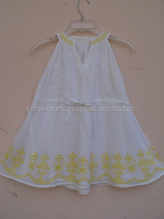 New Arrival 2016 Girl Dresses Cotton Frock Dress With Embroidery Pattern Kids Party Wear