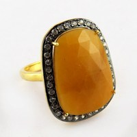 Good Purity !! Yellow Sapphire_CZ 925 Sterling Silver Ring, Antique Silver Jewelry, Fashion Silver Jewelry