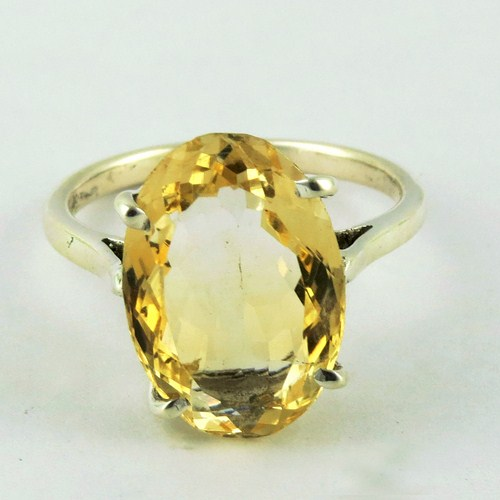 Yellow Citrine Gemstone With Fine 925 Silver Jewelry Indian Look