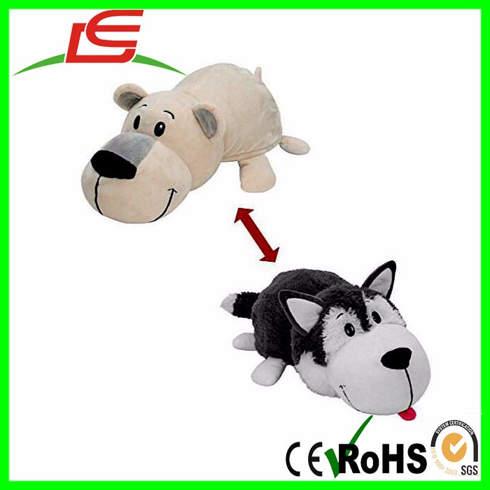 POLAR BEAR PLUSH TOY FLIP INTO HUSKY DOG