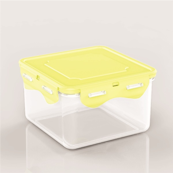 Box sealed plastic fresh fruit container with lid food storage container-plastic food container L936(yellow)