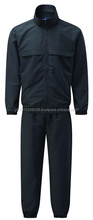 mens black colored tracksuit/ 2pcs zipper jackets cuffed tapered pants