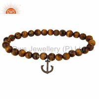 Modern Design natural Tiger Eye Gemstone Bead Handmade Pave Diamond Anchor Charm Bracelet Manufacturer of Charms Jewelry